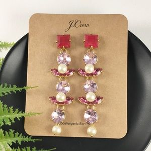 NWT J.Crew Red & Pink Crystal Pearl Drop Earrings